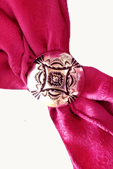 This Silver Rounded South Western Scarf Slide is the perfect way to show your old west spirit. The southwestern design on your neck scarf is also a great western fashion.