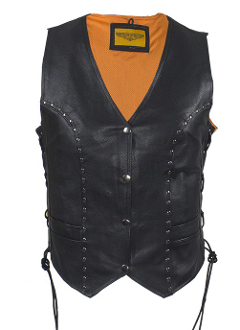 This Womens Concealed Carry Black Leather Studded Vest is made of top grain soft tough leather equipped with gun pockets. Women can carry their gun with style without printing for total concealment.