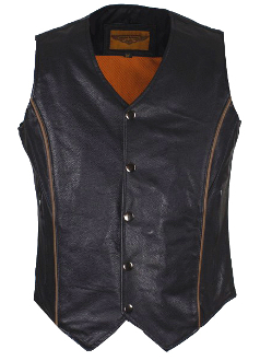 This stylish Womens Brown Reflective Piped Black Gun Pocket Vest is made of genuine naked cowhide leather. The ladies vest has 2 large interior gun pockets with elastic straps & additional slip pocket