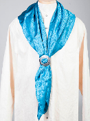 "This Authentic silk jacquard aqua scarf was made in the USA. It is 40""x 40"" and goes perfect with your old west attire. This gentlemens jacquared scarf is made of fine quality China Silk in the USA"