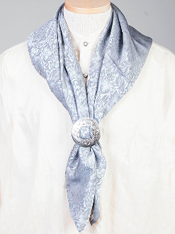 "This Authentic silk jacquard blue scarf was made in the USA. It is 40""x 40"" and goes perfect with your old west attire. This gentlemens jacquared scarf is made of fine quality China Silk in the USA"