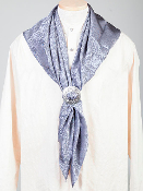 "This Authentic silk jacquard Grey scarf was made in the USA. It is 40""x 40"" and goes perfect with your old west attire. This gentlemens jacquared scarf is made of fine quality China Silk in the USA"