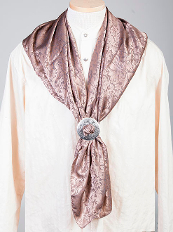 "This Authentic silk jacquard Taupe scarf was made in the USA. It is 40""x 40"" and goes perfect with your old west attire. This gentlemens jacquared scarf is made of fine quality China Silk in the USA"