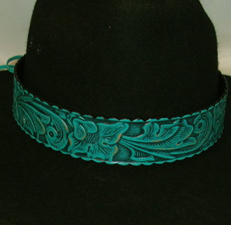 "This 1.5"" Tooled leather Turquoise Teal Cowboy Hat Band is for the person who is looking for a larger fitting hat band. This real leather tooled hat band fits the bigger cowboy hat sizes."