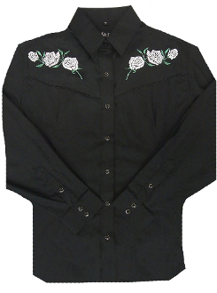 Ladies White rose Black western shirt by White Horse