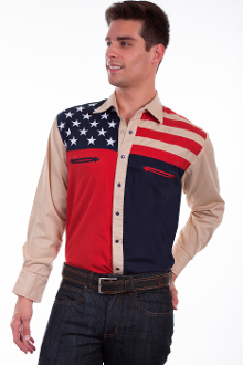 This Scully Mens Antique Stars and Stripes Western Shirt is a beautiful cotton usa flag shirt. This mens western shirt is stylish and comfortable to wear while showing off your patriotic pride.