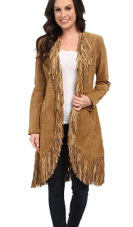 "This ""Dakota"" Scully Womens Full Fringe brown Suede Coat is made of a rich soft boar suede featuring an abundance of fringe starting from the collar, down the front and all around the hem."
