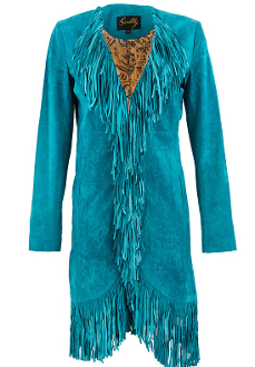 "This ""Dakota"" Scully Womens Full Fringe Turquoise Suede Coat is made of a rich soft boar suede featuring an abundance of fringe starting from the collar, down the front and all around the hem."
