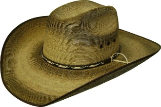 This Adult Palma Verde Truman Torched Straw Cowboy Hat is a cool old west distressed look. Torched technology applied to genuine palma verde straw on a cattleman style crown cowboy hat.