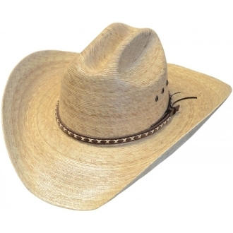 This Adult Palma Verde Cattleman Straw Cowboy Hat is a cool old west look to it. This hat is made of genuine palma verde straw on a cattleman style crown cowboy hat.