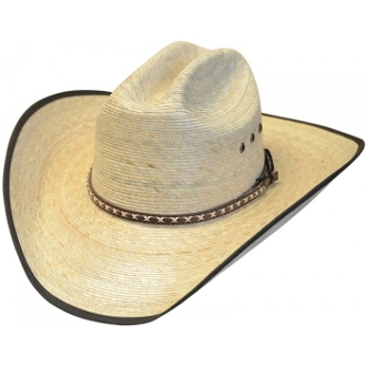 This Adult Palma Verde Cattleman Straw Brown Bound Edge Cowboy Hat is a cool old west look. Brown Bounded edges applied to genuine palma verde straw on a cattleman style crown cowboy hat.
