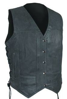 This Womens Snap Front Concealed Carry Gray Leather Vest is an easy way to conceal your weapon with style and non printing comfort. This gray leather womens gun vest is a rare find for sure.