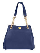"""Laurie"" Women's Blue Leather Chain Strap Concealed Carry Purse has an actual Holster that means no printing on your purse. No printing with this included gun holster for your leather concealed handbag."