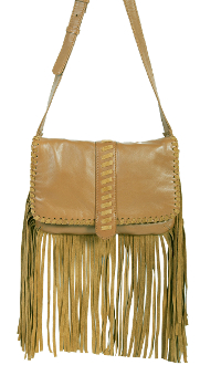 This Tan Leather and Suede Womens Fringe Handbag Purse features a flap closure with whip stitch trim and center pull tab with magnetic snap closure. Suede fringe runs down the sides and along the bottom of the bag.