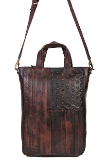This women's Scully USA American Flag Distressed Leather Handbag Purse features USA Stars and studs with detailed stripes to show off your american patriotic self with a little western flare.