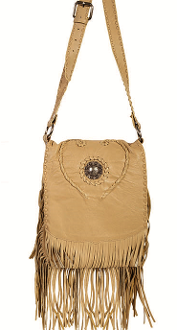 Braided Heart Natural Leather Whip-stich Western Fringe Purse