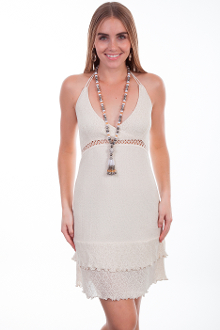 This Womens Peruvian Cotton Natural Scoop Front Ruffle Halter Dress is 100% Peruvian cotton dress that features a tie back and empire style with a crochet band.