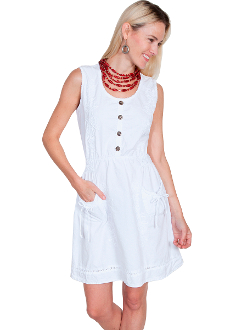 ThisWomens Peruvian Cotton Vine Sleeveless White Short Dress is 100% pervuian cotton with button front. Lace tie back and floral vine soutache on front make a great country dress for women.