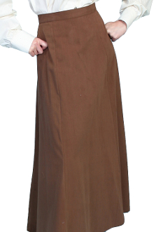 "This Scully Womens USA Made 1800's brown Vintage Full Length Skirt has a smooth fitting front panel and small pleats at the back for fullness and features a back button closure. Approx length 42"". 100% cotton and Made in the USA."