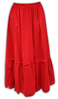 This Scully Womens Prairie Red Cotton Petticoat Skirt has an elastic waist band and is embellished with beautiful crocheted lace. This ladies petticoat is 100% cotton with a great authentic look.