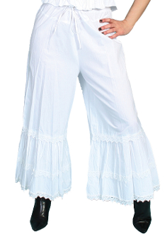This Scully Womens Solid White Cotton Bloomers have 3 rows of ruffles with an elastic waist band and a beautifully embellished crocheted lace. This ladies bloomers are 100% cotton with a great authentic look.