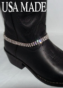 Sparkle and shine with this 3 row Austrian Crystal Cowboy Boot Bracelet made in the USA of fine bright rhinestone crystals for your cowgirl boots. This boot chain stands out with three rows of faux diamonds