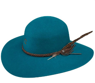 "This ""Free Spirit"" Charlie 1 Horse Teal Wool Cowboy Hat is proudly made in the USA by Charlie 1 horse or stetson hats. The Rounded crown and feather hat band show a womens true cowgirl style of western living."