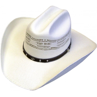 This Adult Vented 50X Bangora Straw Cattleman Cowboy Hat has great western ranch style with a premium hat band for a reasonable price at a 50x straw cowboy hat.