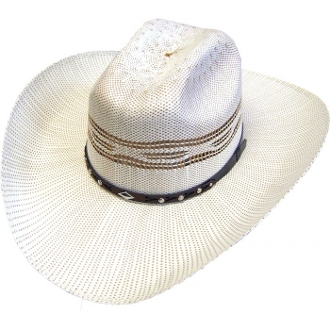 "The ""Silverton"" Adult 50X Bangora Two Tone Straw Cowboy Hat with a Vented crown. This Western hat works great in the summer or winter. Easy clean off and durrable 50X Bangora Straw."