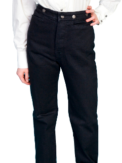 The Womens Wahmaker Black Canvas Frontier Pants are proudly made in the USA. The popular version of the mens canvas pants. The womens canvas pants have a front button frly with riding pockets and adjustable straps