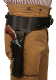 This Antique Brown Leather 38 Caliber Single Gun Holster holds any 38 hand gun and fits 6 or 8 inch barrels with old west brown leather and back waist bullet holes for a cowboy action shooting 1800's frontier western style event.