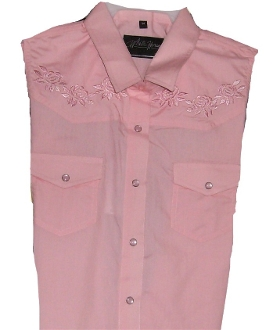 Pink sleeveless rose embroidered western shirt
