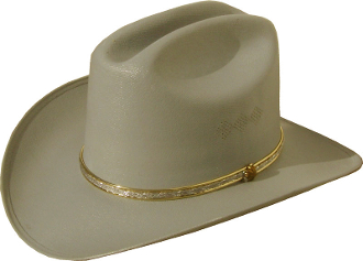 Kids Canvas Straw Cattleman Style Grey Cowboy Hat