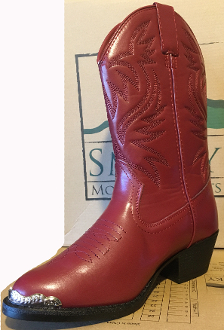 """Mesquite"" Maroon red boot tip Kids cowboy boots"