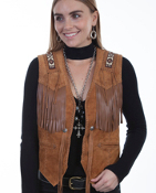 This Womens Scully Bourbon boar suede Indian Fringe western vest is Hand laced. This exquisite western vest features beaded trim on shoulders and the back with whip stitch throughout. A Western favorite.