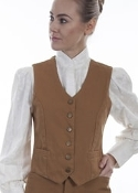 Womensn Scully USA Made tan cotton canvas western vest, scully western vest, scully vest, 1800's womens vest, womens 1800's western vest, 1800's vest for women