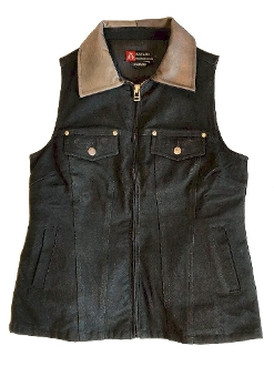 "This ""Thelma"" Black Canvas Womens Concealed Carry Western Vest is a perfect ccw vest. The western style of this ladies ccw vest is packed with room for your hand guns without printing."
