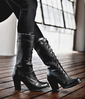 Ariana Side Zipper Black Leather Womens Granny Boots
