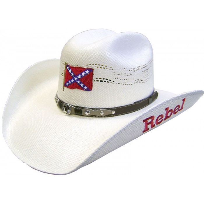 50X Bangora Rebel Confederate Flag Straw Cowboy Hat, rebel flag cowboy hat, confederate cowboy hat