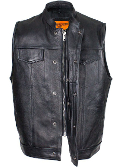Mens Naked Cowhide Leather Black Zipper vest with Gun Pocket