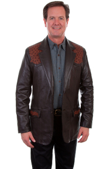 This Scully Mens Brown Lambskin Leather Ostrich Western Blazer has genuine Ostrich trim on yokes and front flap pockets with a Western Gentleman look and 2 button open front and a center back vent.