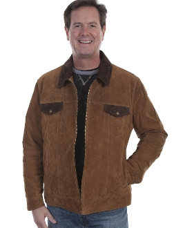 This Mens Scully Brown Suede Concealed Carry Western Jacket is a two-toned suede jacket that features contrasting dark brown collar. It has a zip front closure. The interior is lined with a concealed carry pocket.