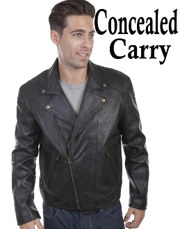 This classic Mens Scully Black Lambskin CCW Motorcycle Jacket features an asymmetric front zip closure with notched lapels. The interior has acetate lining and an inside concealed carry pocket.