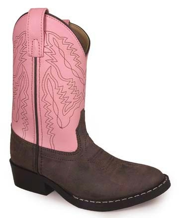 """Jr Monterey"" Kids Brown and Pink Cowboy Boots"