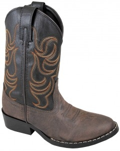 """Brown Monterey"" Kids Black and Brown Cowboy Boots"