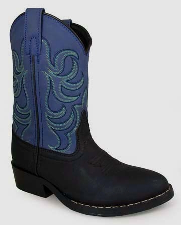 """Memphis Blue"" KIDS square toe black cowboy boots"
