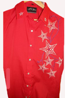 Ladies Starr Embroidered Red Western Shirt, western shirt with snaps, western shirt vintage, vintage western shirts, western vintage clothing, scully western shirt, ladies scully, ladies scully shirts