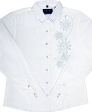 "This Ladies ""Rhinestone Rowell"" White western shirt has that great cowgirl look with detailed silver embroidery western rhinestones in a womens shirt."