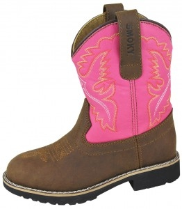 """Colby"" Kids Brown and Pink Cowboy Boots"