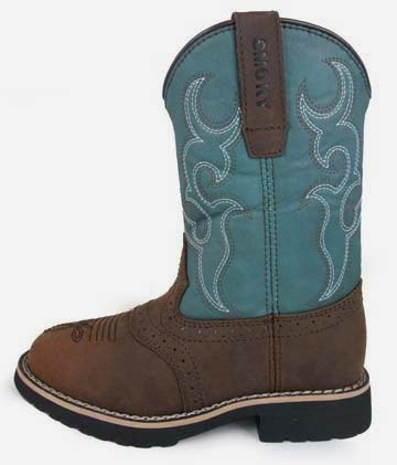 """Colby"" Kids Brown and Turquoise Cowboy Boots"